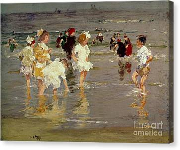 Children On The Beach Canvas Print by Edward Henry Potthast