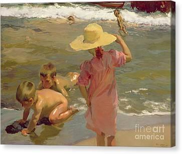 Children On The Seashore Canvas Print by Joaquin Sorolla y Bastida