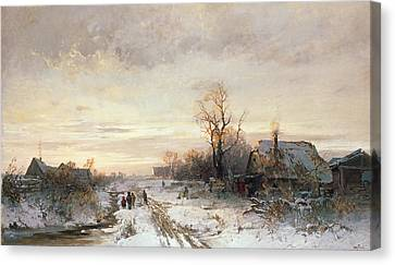 Children Playing In A Winter Landscape Canvas Print by August Fink