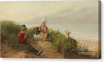 Children Playing On The Beach With A Dog And Goats Canvas Print by Carl Emil Mucke