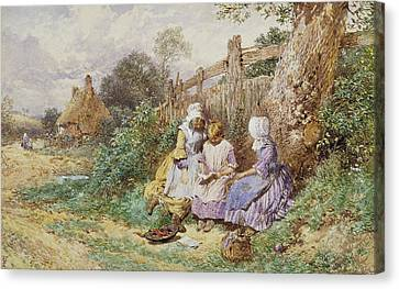 Children Reading Beside A Country Lane Canvas Print by Myles Birket Foster