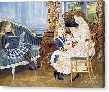 Children's Afternoon At Wargemont Canvas Print by Pierre Auguste Renoir