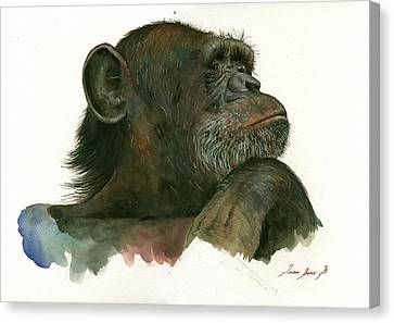Chimp Portrait Canvas Print by Juan Bosco