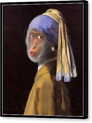Chimp With A Pearl Earring Canvas Print by Gravityx9  Designs