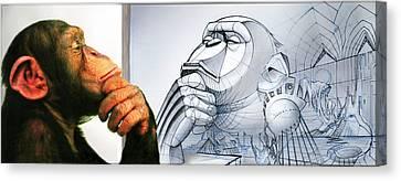 Chimps Don't Draw Canvas Print by Nicholas Bockelman