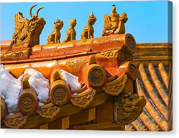 China Forbidden City Roof Decoration Canvas Print by Sebastian Musial