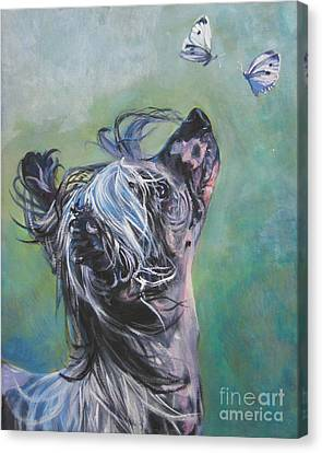 Chinese Crested With Butterflies Canvas Print by Lee Ann Shepard