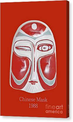 Chinese Porcelain Mask Red Canvas Print by Heiko Koehrer-Wagner