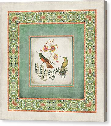 Chinoiserie Vintage Hummingbirds N Flowers 1 Canvas Print by Audrey Jeanne Roberts