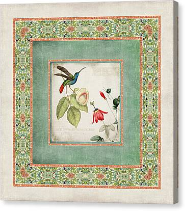 Chinoiserie Vintage Hummingbirds N Flowers 2 Canvas Print by Audrey Jeanne Roberts