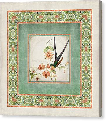 Chinoiserie Vintage Hummingbirds N Flowers 3 Canvas Print by Audrey Jeanne Roberts