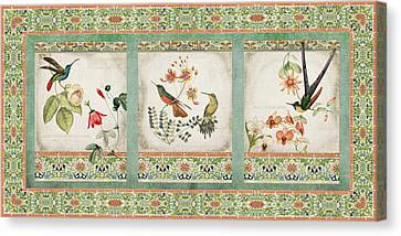 Triptych - Chinoiserie Vintage Hummingbirds N Flowers Canvas Print by Audrey Jeanne Roberts