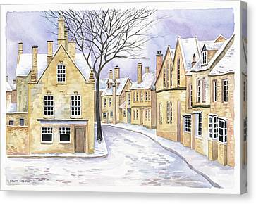 Chipping Campden In Snow Canvas Print by Scott Nelson