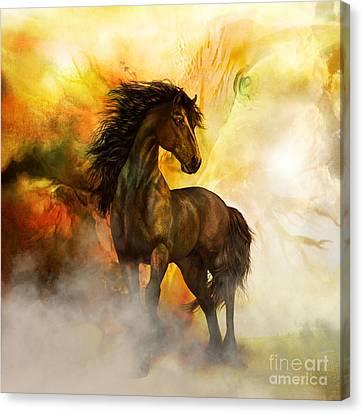 Chitto Black Spirit Horse Canvas Print by Shanina Conway