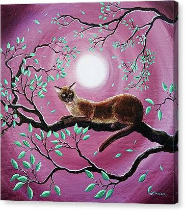 Chocolate Burmese Cat In Dancing Leaves Canvas Print by Laura Iverson