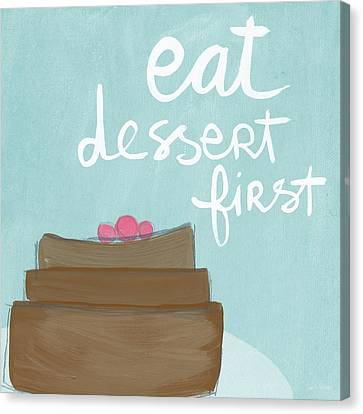 Chocolate Cake Dessert First- Art By Linda Woods Canvas Print by Linda Woods