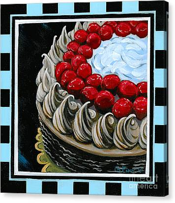 Chocolate Cake With A Cherry On Top Canvas Print by Gail Finn