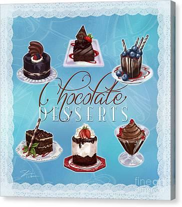 Chocolate Desserts Canvas Print by Shari Warren