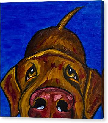 Chocolate Lab Nose Canvas Print by Roger Wedegis