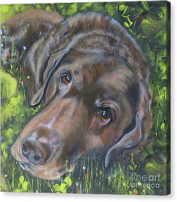 Chocolate Lab Canvas Print by Susan A Becker