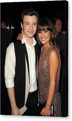 Chris Colfer, Lea Michelle At Arrivals Canvas Print by Everett