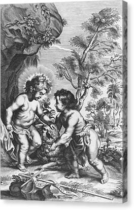 Christ And John The Baptist  Behold The Lamb Of God Canvas Print by Gaspar Huberti
