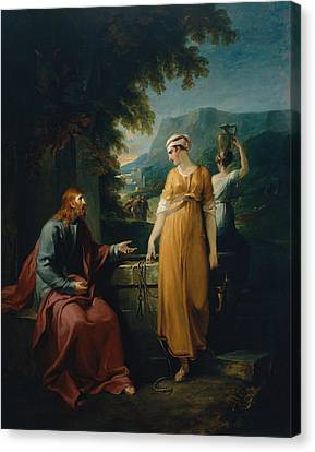 Christ And The Woman Of Samaria Canvas Print by Mountain Dreams