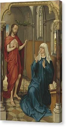 Christ Appearing To The Virgin Canvas Print by Follower Of Rogier Van Der Weyden
