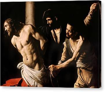 Christ At The Column Canvas Print by Caravaggio