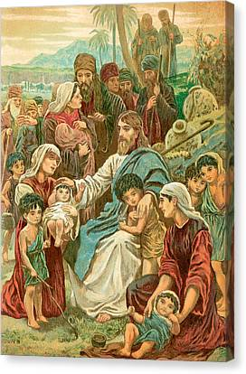 Christ Blessing Little Children Canvas Print by English School