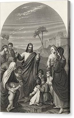 Christ Blessing The Little Children Canvas Print by Vintage Design Pics