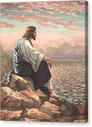 Christ By The Sea Canvas Print by American School
