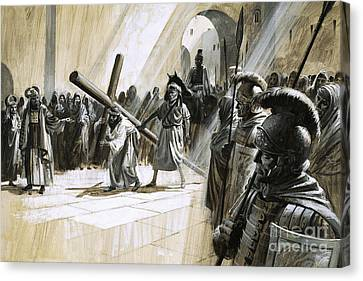 Christ Carrying The Cross Canvas Print by Andrew Howat