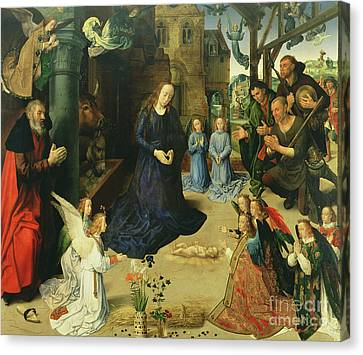 Christ Child Adored By Angels Canvas Print by Hugo van der Goes