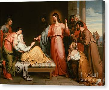 Christ Healing The Mother Of Simon Peter Canvas Print by John Bridges