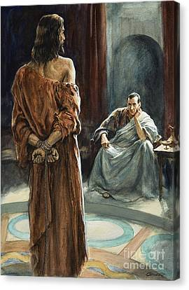Christ In Front Of Pontius Pilate Canvas Print by Henry Coller