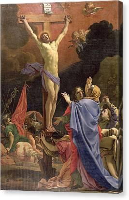 Christ On The Cross Canvas Print by Michel Dorigny