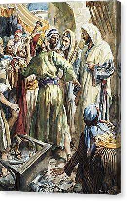 Christ Removing The Money Lenders From The Temple Canvas Print by Henry Coller