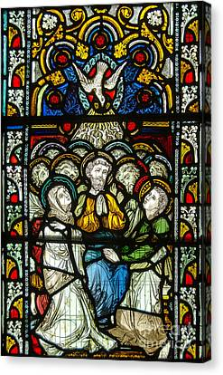 Christian Pentecost On A Stained Glass At Christ Chuch Cathedral Dublin Canvas Print by RicardMN Photography