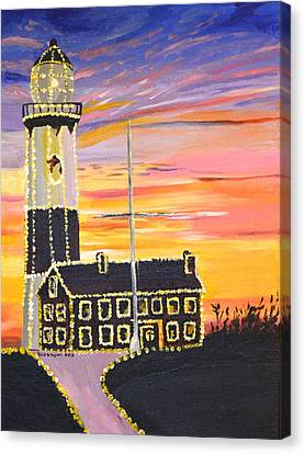 Christmas At The Lighthouse Canvas Print by Donna Blossom