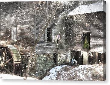 Christmas At Cook's Mill Canvas Print by Benanne Stiens