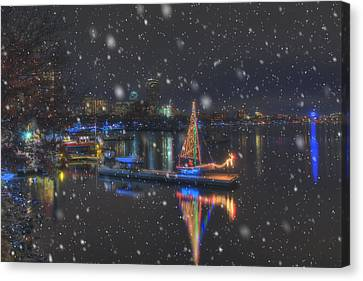 Christmas Boat On The Charles River - Boston Canvas Print by Joann Vitali