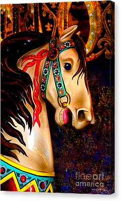 Christmas Carousel Horse Canvas Print by Patty Vicknair