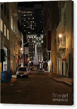 Christmas Eve 2009 On Maiden Lane Canvas Print by Wingsdomain Art and Photography