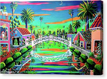 Christmas Eve On Retro Canal Canvas Print by Frank Strasser