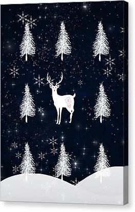 Christmas Eve Stag Canvas Print by Amanda  Lakey