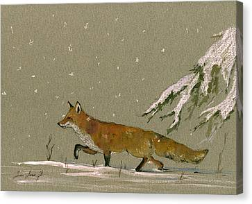 Christmas Fox Snow Canvas Print by Juan  Bosco