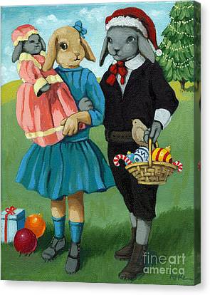 Christmas Greetings From Appletree Hollow - Animal Art Canvas Print by Linda Apple