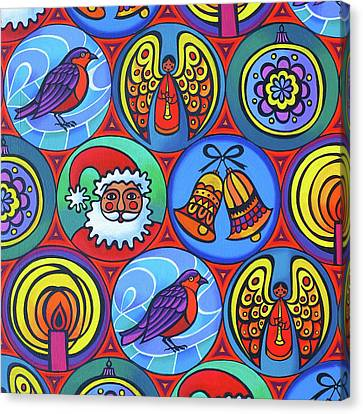 Christmas In Circles Canvas Print by Jane Tattersfield