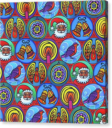 Christmas In Small Circles Canvas Print by Jane Tattersfield